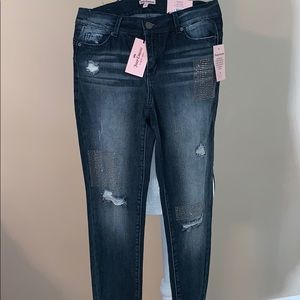 Juicy Couture Skinny Mid Rise Jeans Distressed 4